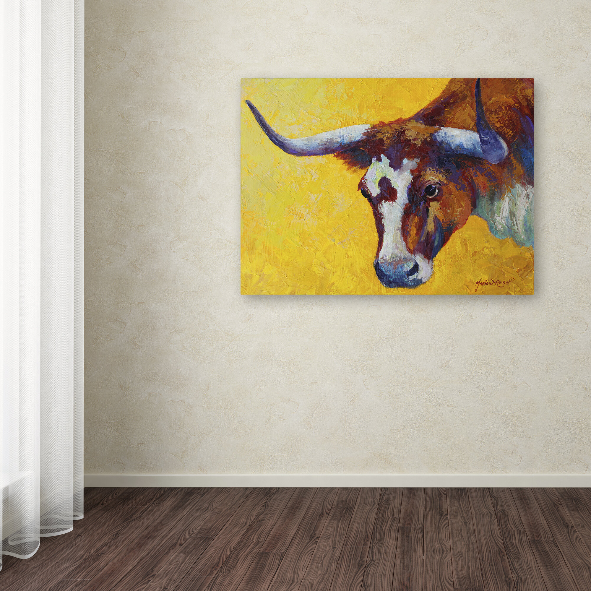 Red Barrel Studio \'Longhorn Cow Study\' Print on Wrapped Canvas ...
