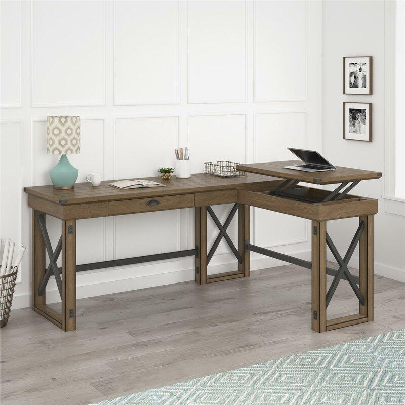 Laurel Foundry Modern Farmhouse Gladstone L Shape Standing Desk