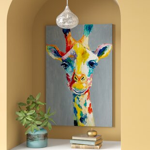 d76571faaa4  Colorful Giraffe  Painting Print on Wrapped Canvas