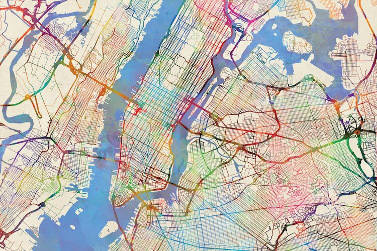 Street Map Of New York City.East Urban Home Urban Rainbow Street Map Series New York City New