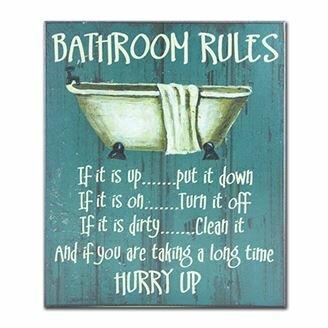 Bathroom Rules Textual Art