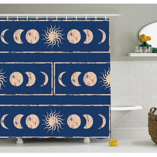 Grungy Ethnic Design Of Planetary With Sun Moon Phases Mystery Shower Curtain Set