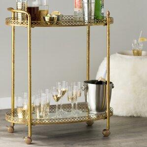Royse Mirrored Bar Cart