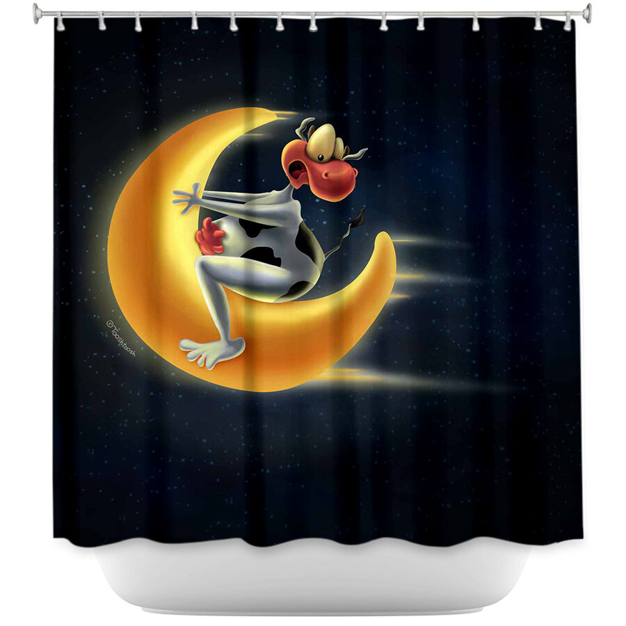 East Urban Home Crazy Moon Cow Shower Curtain