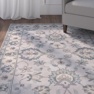 Read Reviews Blake Hand-Tufted Taupe/Blue Area Rug By Charlton Home