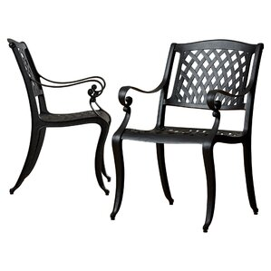grimm cast aluminum dining arm chair set of 2