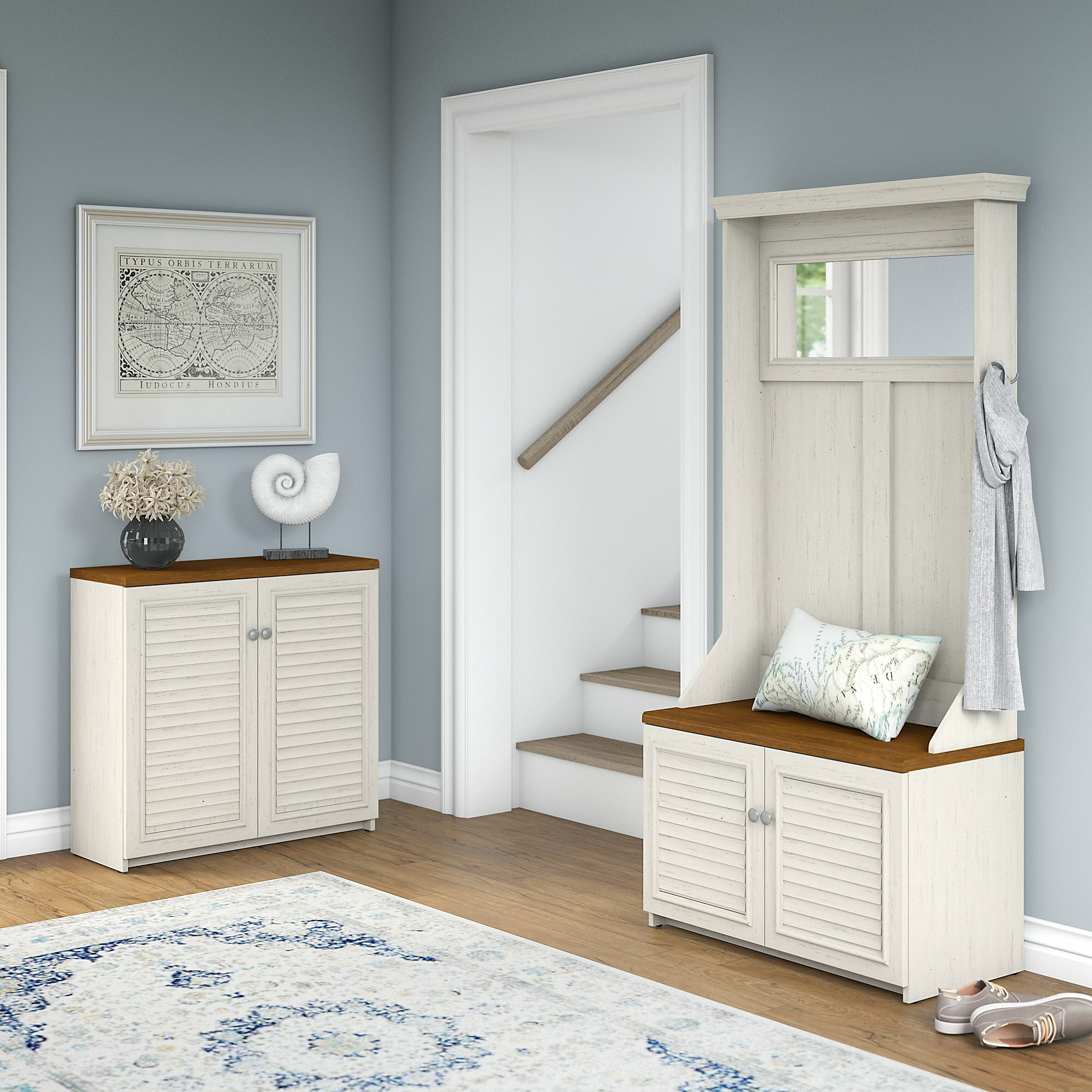 Bon Fairview Entryway Storage Set With Hall Tree, Shoe Bench And Accent Cabinet