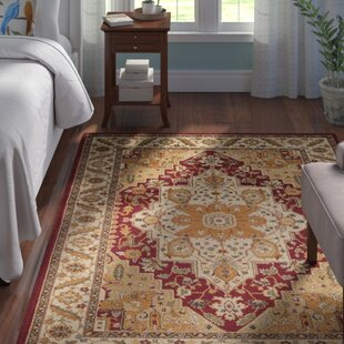 Pierce Beige Maroon Area Rug