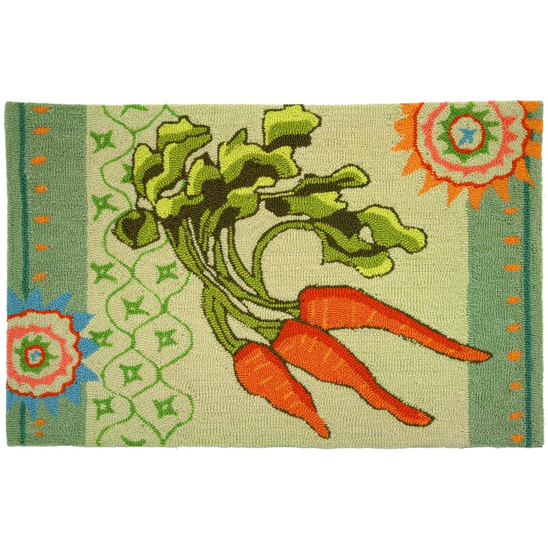 August Grove Eragny Hand-Hooked Orange/Green Area Rug, Size: Rectangle 110 x 210