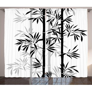 Brierfield Tree of Life Silhouette of Spiritual Bamboo Tree Leaves Japanese Zen Feng Shui Boho Image Graphic Print & Text Semi-Sheer Rod Pocket Curtain ...