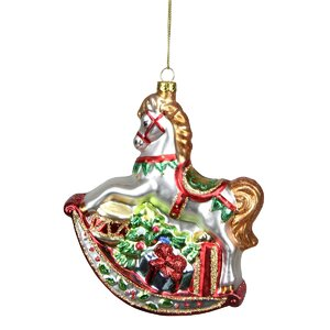 Glittered Traditional Rocking Horse with Gifts Glass Christmas Ornament