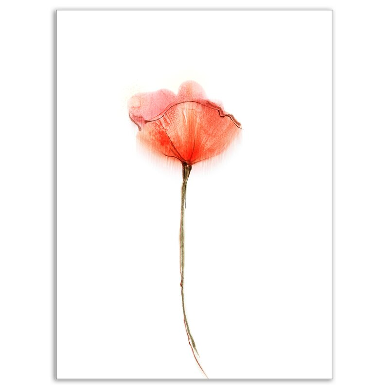Designart Watercolor Large Red Poppy Flower Painting Print On