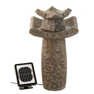 Natural Stone Solar Temple Sculpture Water Fountain