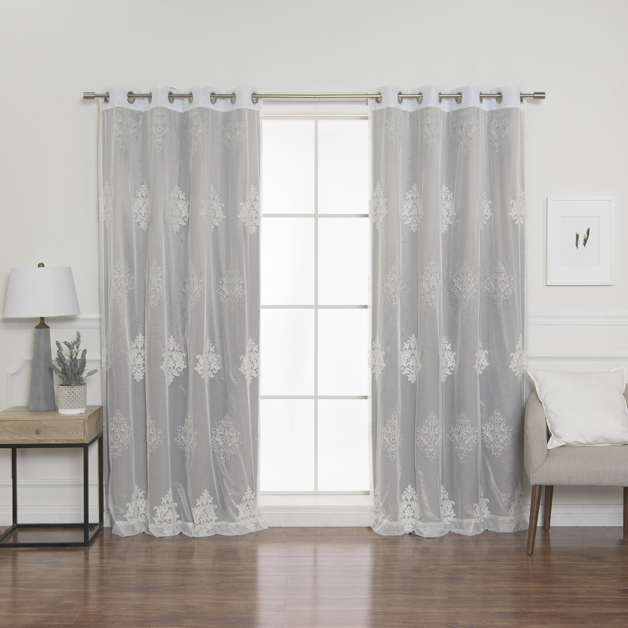 Best Home Fashion, Inc Damask Blackout Grommet Curtain Panels &
