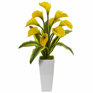 Silk Calla Tropical Leaves Lilies Floral Arrangement in Planter