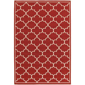 Duncan Red/Ivory Indoor/Outdoor Area Rug