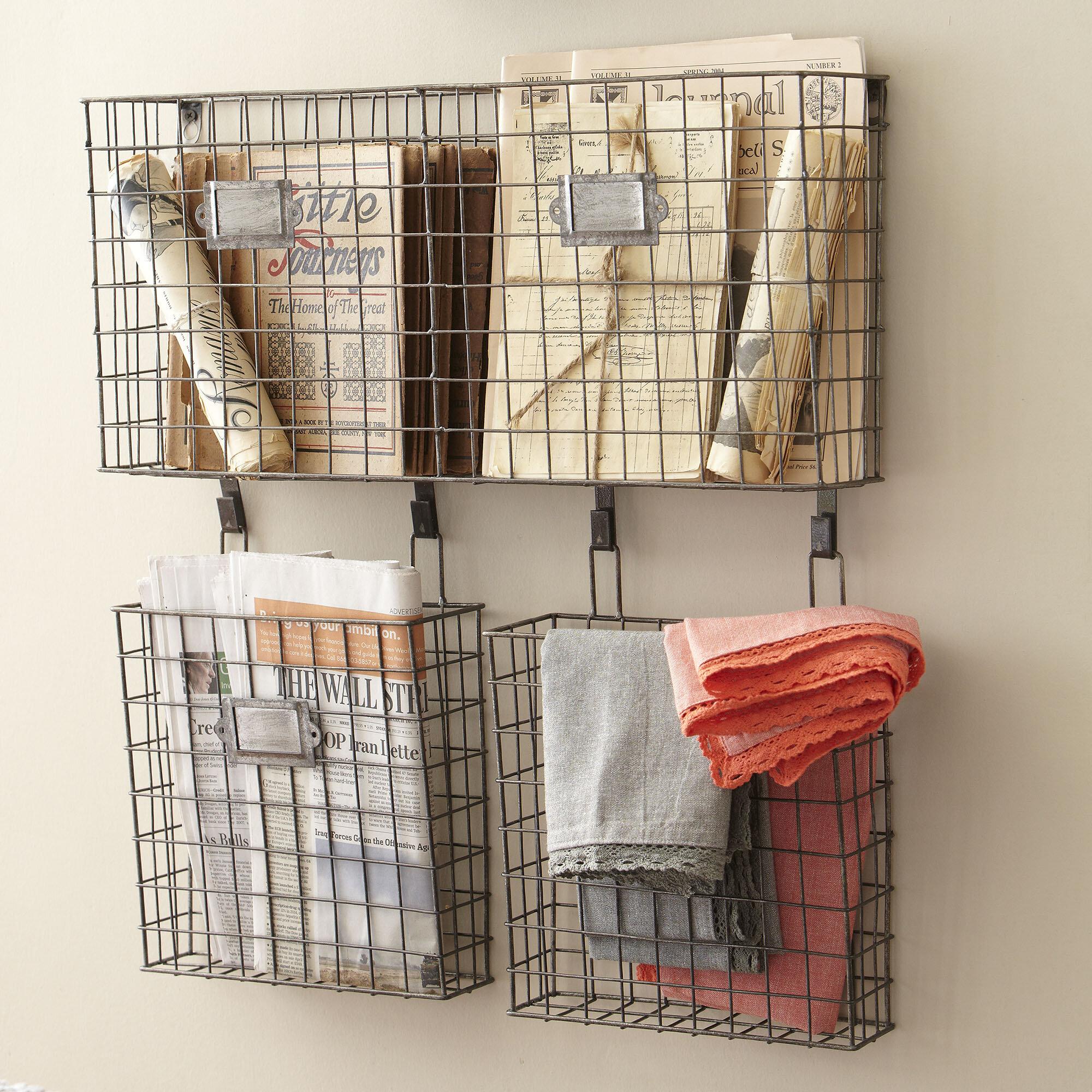 Gracie Oaks Omro 4 75 X 22 5 25 Wire Basket Wall Organizer Reviews Wayfair