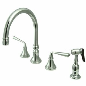 Elements of Design Copenhagen Double Handle Widespread Kitchen Faucet with Brass Sprayer
