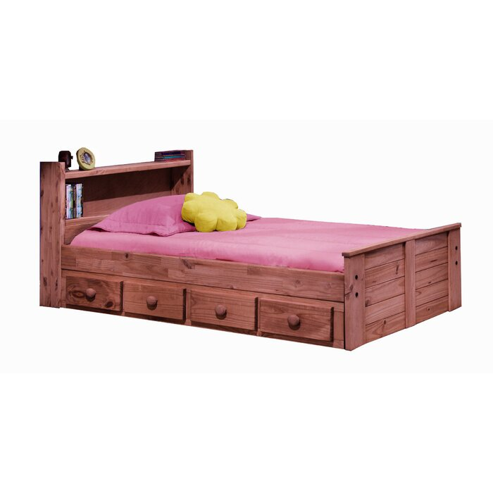 Harriet Bee Chiu Twin Mates Captains Bed With Bookcase Headboard