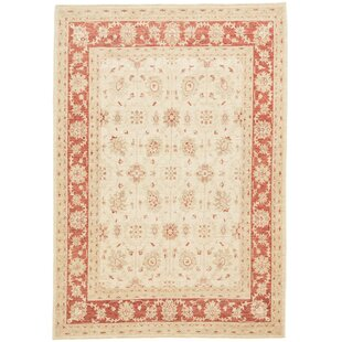 Frankfort Hand Knotted Wool Beige/Red Rug by Rosalind Wheeler
