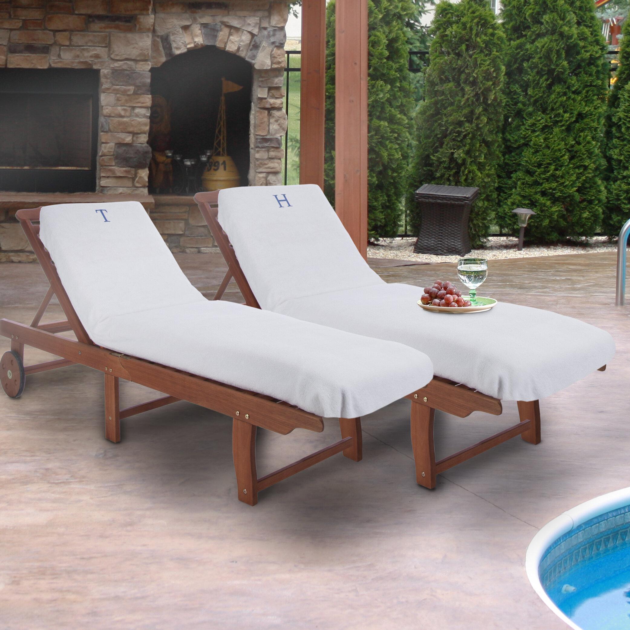 Ebern designs superior monogrammed lounge chair cover reviews wayfair