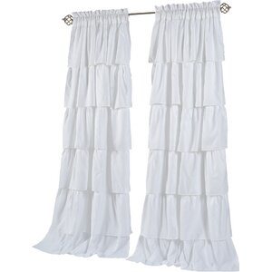 Carnival Ruffled Solid Blackout Rod Pocket Curtain Panels (Set of 2)