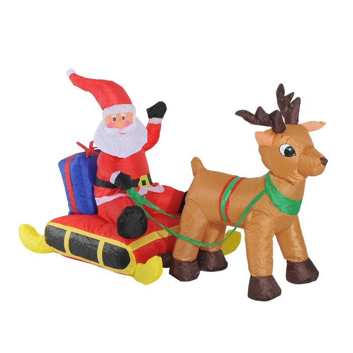 Inflatable Santa On The Sleigh With Reindeer