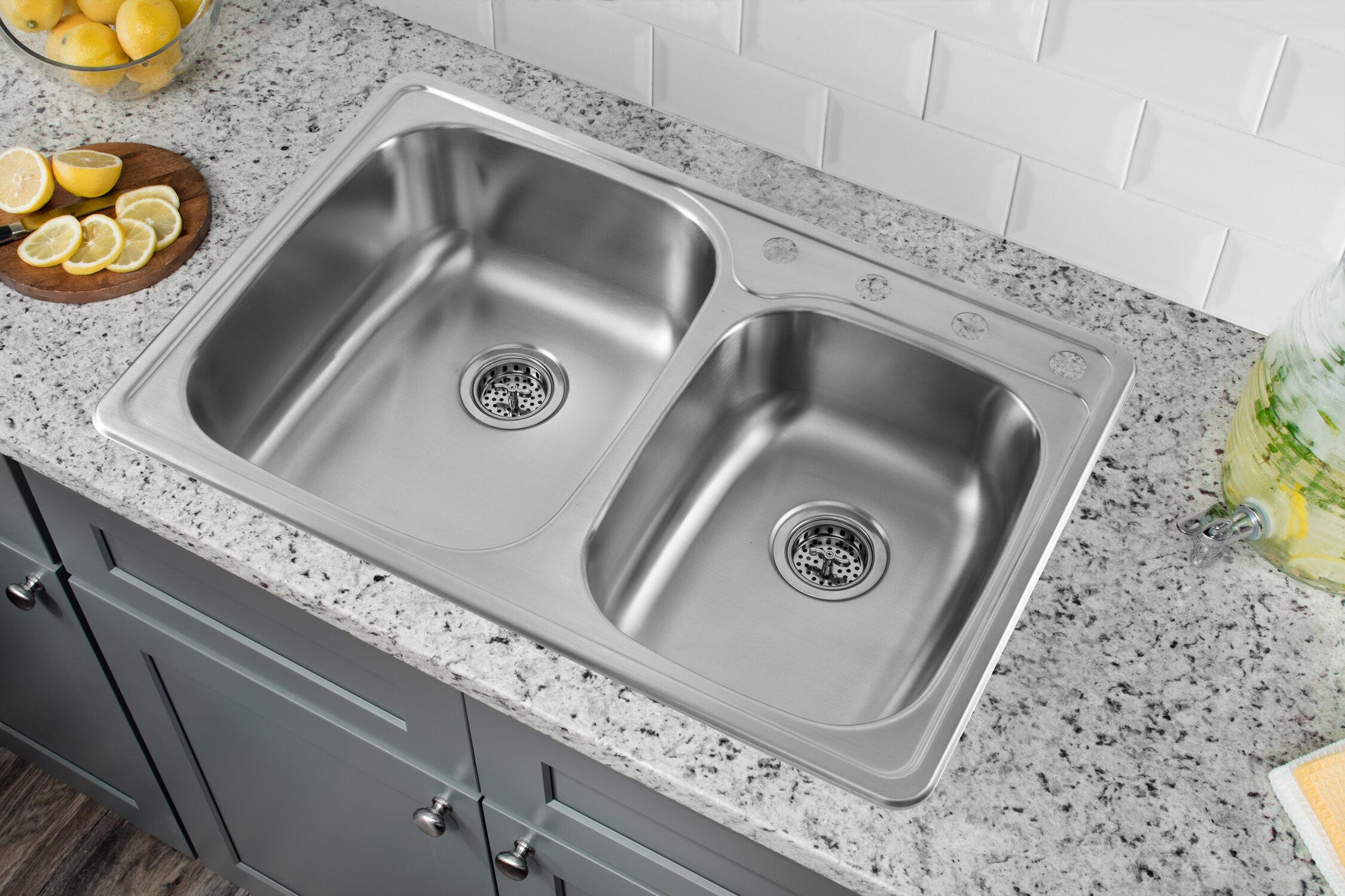 Soleil 33 x 22 drop in double bowl kitchen sink reviews wayfair workwithnaturefo