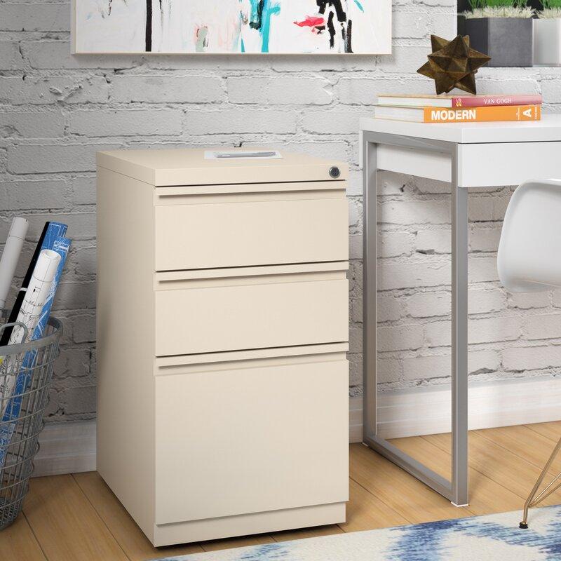 Brayden Studio Mckamey 3 Drawer Mobile Pedestal File Cabinet ...