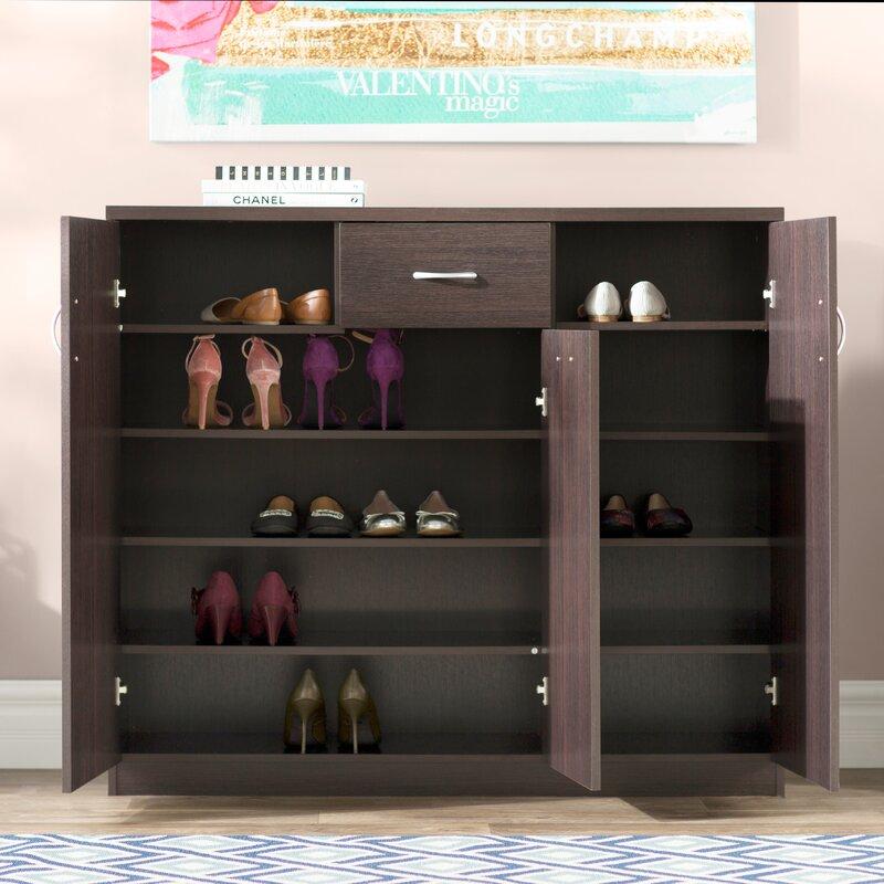 Wood 30-Pair Shoe Storage Cabinet
