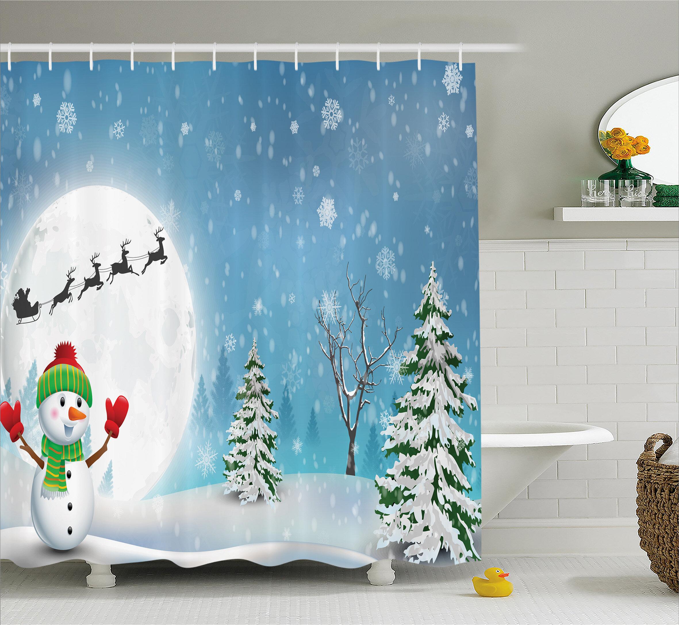 The Holiday Aisle Christmas Jolly Snowman Santa Shower Curtain