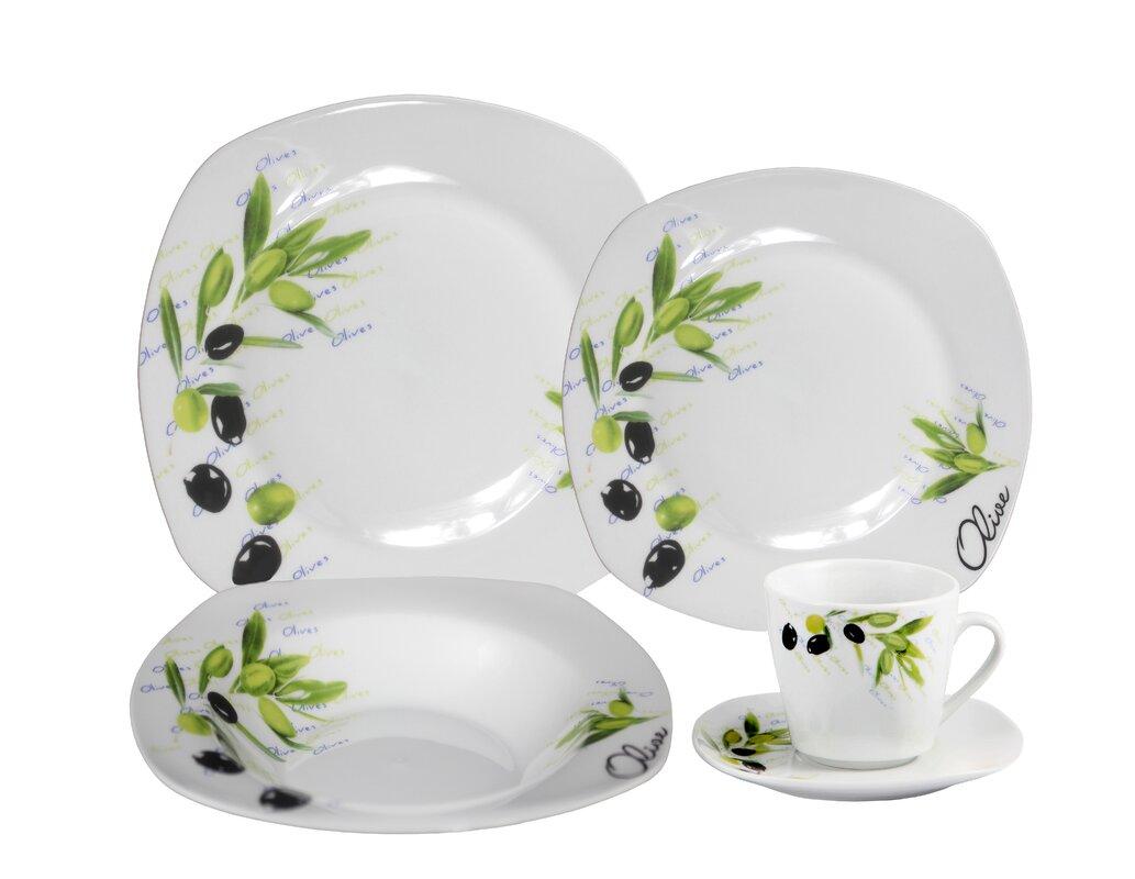 Porcelain 20 Piece Square Dinnerware Set Service for 4  sc 1 st  Wayfair & Lorren Home Trends Porcelain 20 Piece Square Dinnerware Set ...