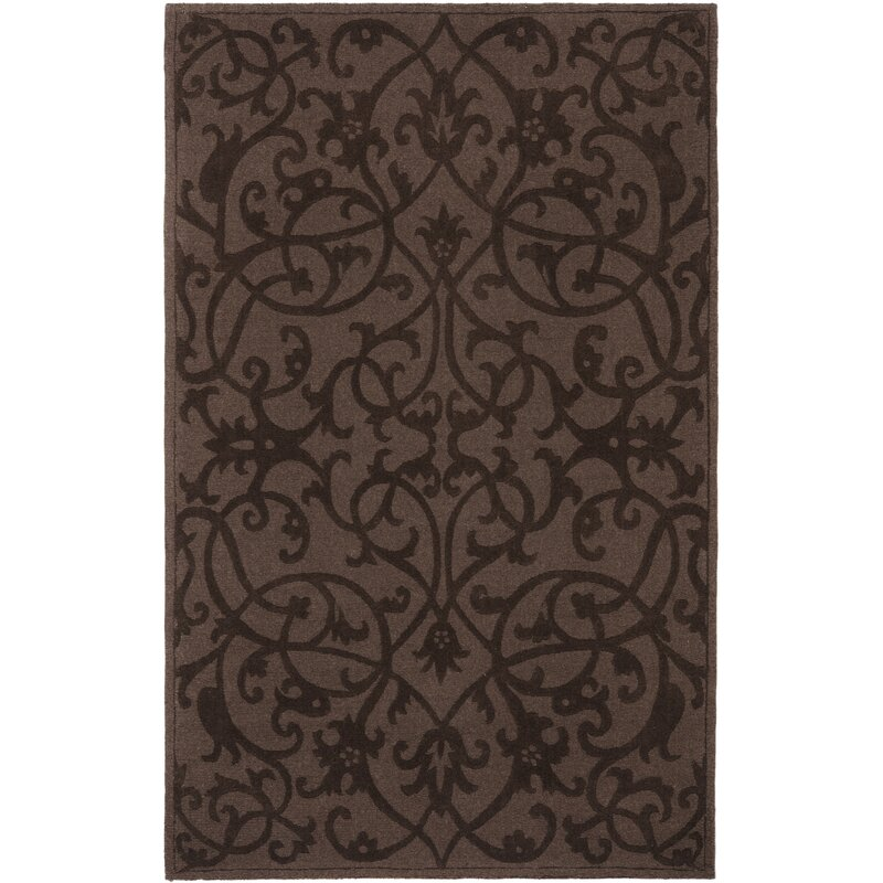 Alcott Hill Babille Hand-Tufted Wool Dark Brown Area Rug, Size: Square 6