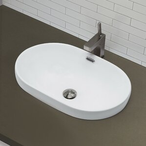 Classically Redefined Ceramic Oval Vessel Bathroom Sink With Overflow