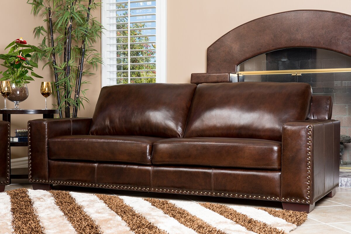 William 2 piece leather living room set reviews birch lane 2 piece leather living room set