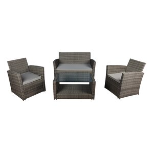 modern outdoor wicker 4 piece deep seating group with cushions