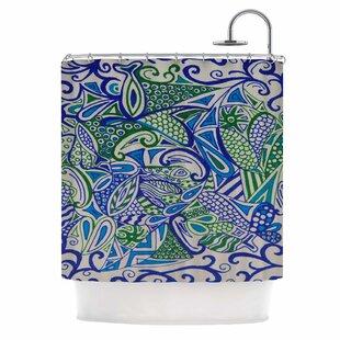 U0027Blue Green Zentangleu0027 Shower Curtain
