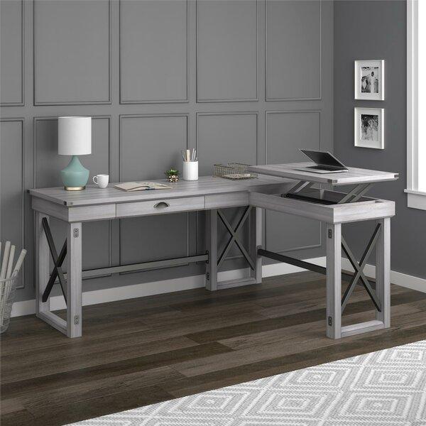laurel foundry modern farmhouse gladstone l shape standing desk reviews wayfair. Black Bedroom Furniture Sets. Home Design Ideas