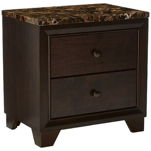 Hawkesbury Faux Marble Top Wooden 2 Drawer Nightstand