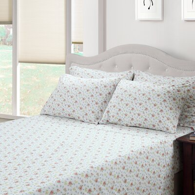 214 West Ditsy Floral Jenna 300 Thread Count Cotton 3 Piece Sheet Set  Size: Queen
