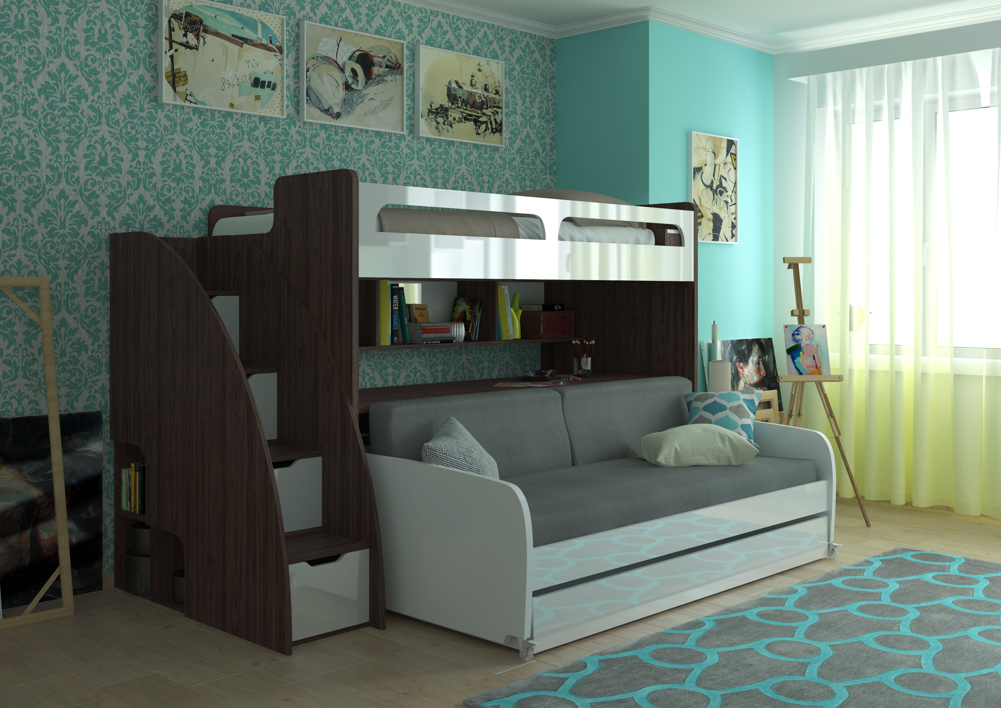 convertible twin with shaped combo jordan bed nathaniel futon c futons beautiful metal bunkbed of by blue and insight unique bunk home