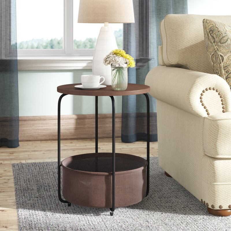 Alvin Modern Round End Table With Storage
