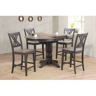 Double X- Back Counter Height 5 Piece Pub Table Set