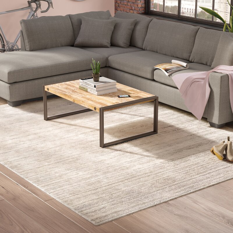 Williston forge brooks distressed modern sleek gray cream - Pictures of area rugs in living rooms ...