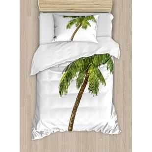 Palm Tree Cartoon Palms Image Tropical Plant And Sand Serenity Nature  Foliage Print Duvet Set