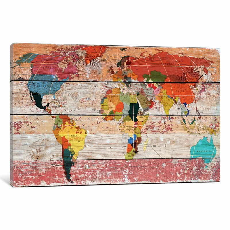 World menagerie world map painting print on wrapped canvas reviews world map painting print on wrapped canvas gumiabroncs Images