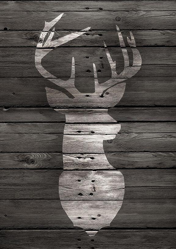 Buy Art For Less Main Line Art Design Lodge Deer On Black Wood