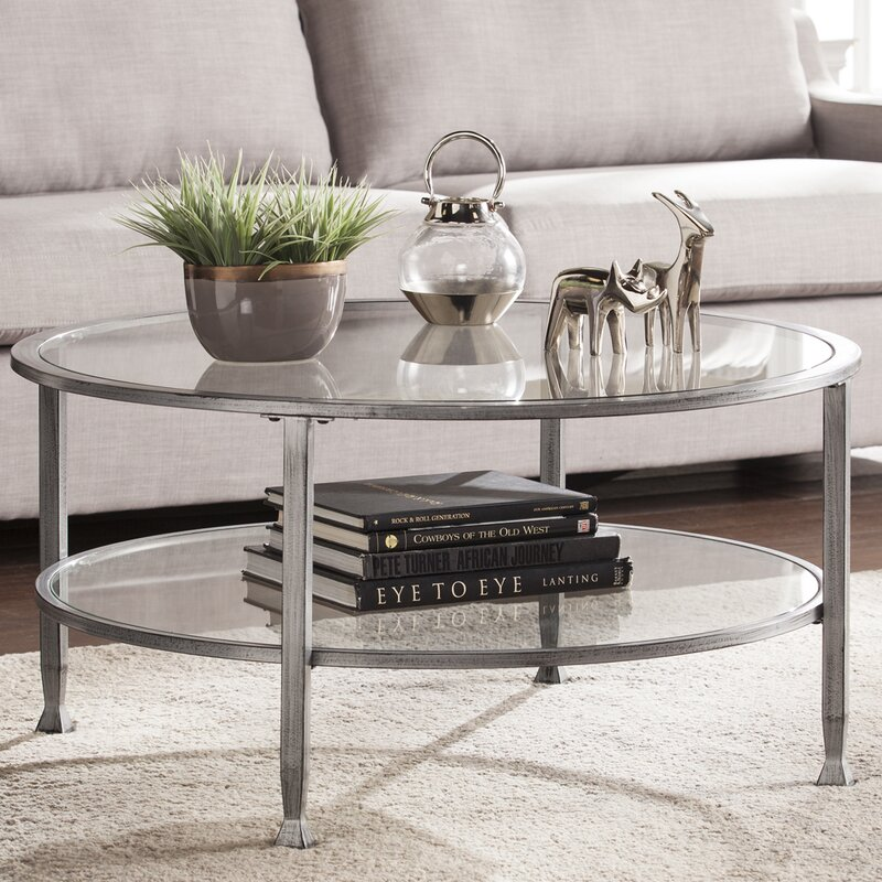 Orren Ellis Casas Metal and Glass Round Coffee Table Reviews