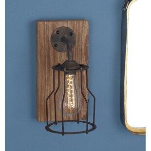 Wood Metal 1 Light Led Armed Sconce