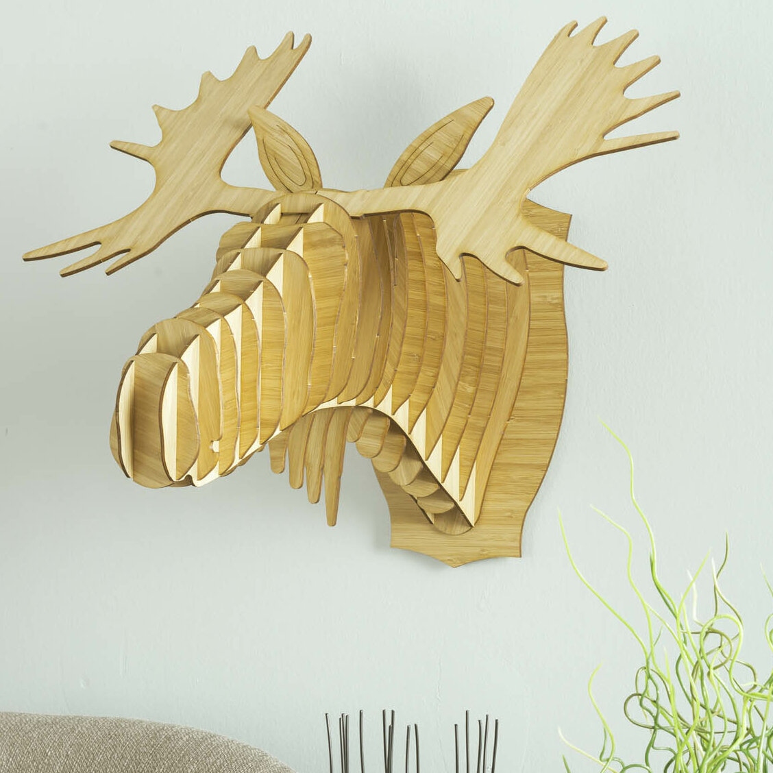 Cardboard Safari Fred the Bamboo Moose Head Wall Décor & Reviews ...